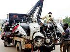 પુણામાં ટ્રાફિક ક્રેન પર ટો કરેલી બાઇક છોડાવવા કટરથી હુમલો|સુરત,Surat - Divya Bhaskar