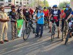 સુરતમાં સાયકલ અપનાવો કોરોના ભગાવોના સુત્ર 500 સાયકલિસ્ટોએ સાયકલ રેલી યોજી|સુરત,Surat - Divya Bhaskar