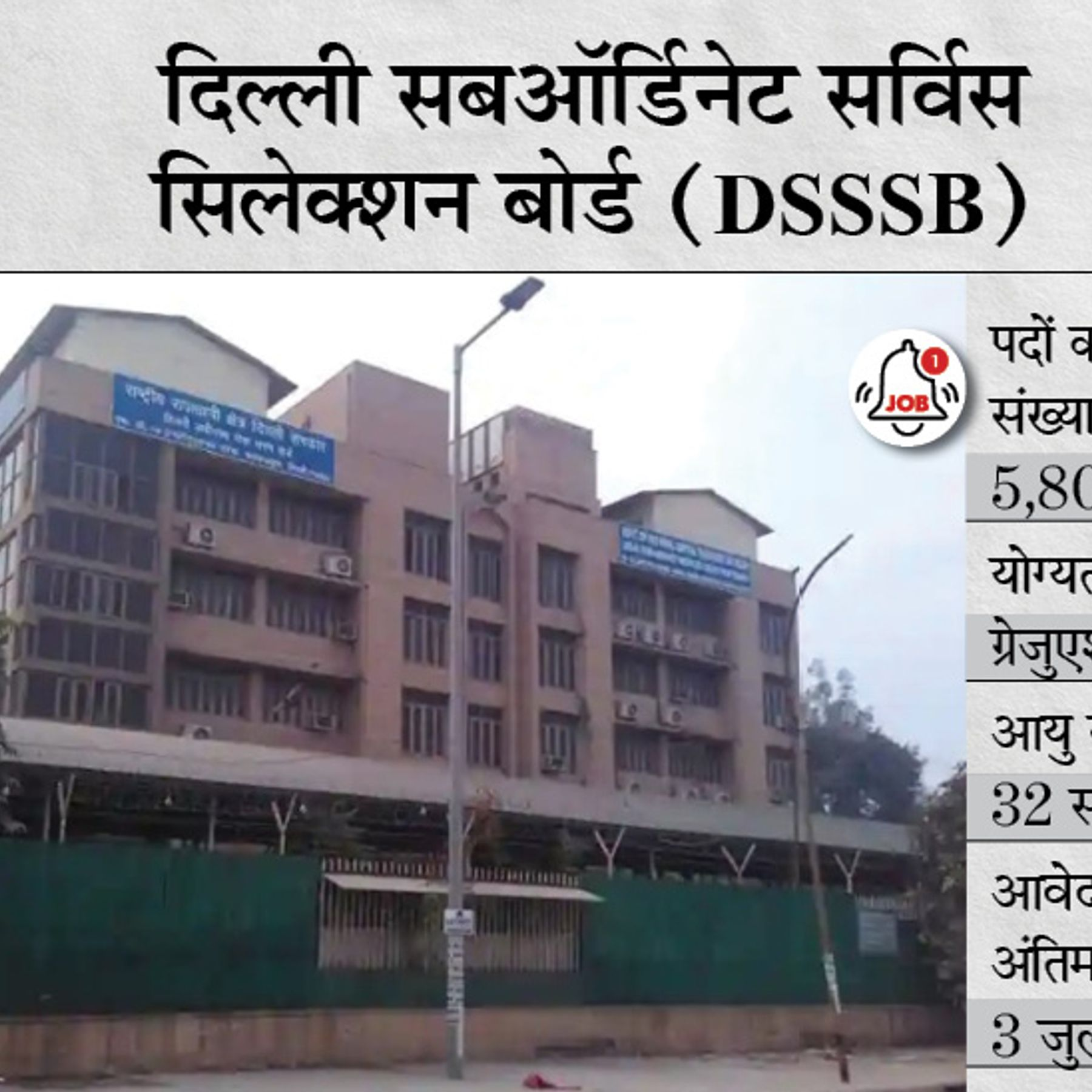 DSSSB Sarkari Naukri DSSSB TGT Posts Recruitment 2021 Delhi Subordinate  Services Selection Board Notification Vacancies Check Vacancy Details And  How To Apply | TGT के 5807 पदों पर भर्ती के लिए करें