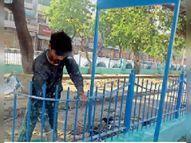 संवरेंगे पार्क ; एक साल से अटका था ग्रीन बेल्ट का काम, दीवारों और ग्रिल पर कराया गया पेंट|जींद,Jind - Dainik Bhaskar