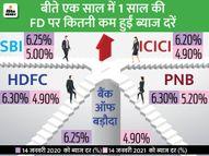 SBI के बाद अब दूसरे बैंक भी बढ़ा सकते हैं FD पर ब्याज, बीते 1 साल में कई बैंकों ने घटाईं ब्याज दरें|यूटिलिटी,Utility - Dainik Bhaskar