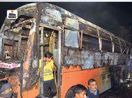 जालोर में हाइटेंशन लाइन की चपेट में आने से बस में आग लगी; 6 लोग जिंदा जले, 36 झुलसे|देश,National - Dainik Bhaskar
