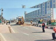 वधावा नगर के सामने दिया कट, इससे रॉन्ग साइड नहीं चलेंगे लोग|जीरकपुर,Zirakpur - Dainik Bhaskar