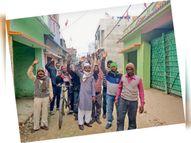 जल निकासी के लिए नाला नहीं बनाया और सड़क का निर्माण करने लगे कर्मी, लोगों ने रोक दिया काम|मधुबनी,Madhubani - Dainik Bhaskar