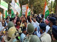 रायपुर में रमन सिंह को चूड़ी भेंट करने जा रहे युवा कांग्रेसियों को रोका तो वह पुलिस से उलझे|रायपुर,Raipur - Dainik Bhaskar