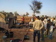 कच्चे मकान में आग से घर का सारा सामान जला, घर की महिला हुई बेसुध|नागौर,Nagaur - Dainik Bhaskar