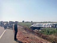 उनियारा-हिंडोली मार्ग पर 2 ट्रेलर भिड़े, एक चालक की मौत, खलासी भी घायल|टोंक,Tonk - Dainik Bhaskar