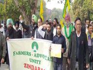 वकीलों ने किया प्रदर्शन; कहा- किसानों को हटाने के लिए बिलों को लटकाया जा रहा है, पर ऐसा नहीं होगा|चंडीगढ़,Chandigarh - Dainik Bhaskar