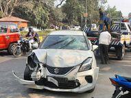 साइकिल को टक्कर मार कार से भाग रहा था युवक, बाइक से टकराने के बाद खंभे में मारी ठोकर|जमशेदपुर,Jamshedpur - Dainik Bhaskar