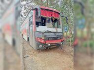 पुलिसलाइन के पास बस पलटने से एक यात्री की मौत, 13 लोग जख्मी|पटना,Patna - Dainik Bhaskar