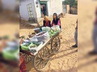 पिता के कैंसर के इलाज के लिए 12 साल की शबनम व 9 साल की यासमीन सब्जी बेच रही सीकर,Sikar - Dainik Bhaskar