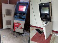 हिंडौन में चोरों ने की दो ATM लूटने की कोशिश, कैश नहीं निकाल पाए तो आग के हवाले किया|भरतपुर,Bharatpur - Dainik Bhaskar