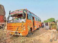 चालकों ने 32 स्कूली बच्चों की जिंदगी को डाला खतरे में,1 के ऊपर से गुजरा ट्रक का पहिया, शुक्र है - बच गया|नागौर,Nagaur - Dainik Bhaskar