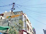 तार टूटा, व्यापारी को करंट लगा; एलईडी टीवी, मिक्सर सहित अन्य उपकरण जले|रतलाम,Ratlam - Dainik Bhaskar