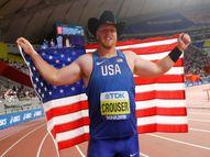 रेयान क्राउसर ने 22.82 मीटर दूर गोला फेंका, यह रैंडी बार्न्स के रिकॉर्ड से 0.16 मीटर ज्यादा दूर|स्पोर्ट्स,Sports - Dainik Bhaskar