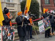 अमेरिका और इटली में भारतीय दूतावास के सामने नारेबाजी, दीवारों पर लिखा- खालिस्तान जिंदाबाद|विदेश,International - Dainik Bhaskar