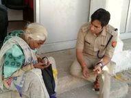 सीढ़ियों पर चढ़ नहीं पा रही थी वृद्धा; ACP की नजर पड़ी तो दौड़कर पास तक पहुंचे, फर्श पर बैठकर सुनी फरियाद|कानपुर,Kanpur - Dainik Bhaskar