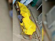 कोरोना संक्रमित के इस शव को पीले किट के भीतर डालना था पर कफन की तरह ओढ़ा दिया|भिलाई,Bhilai - Dainik Bhaskar