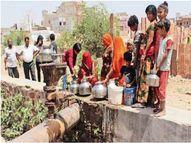 पानी की जुगत में लगी लाइनें, बच्चे भी पहुंचे नागौर,Nagaur - Dainik Bhaskar