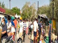 सब्जी मंडी में टूट पड़े लोग, 3 घंटे की छूट मिलते ही मंडियों में भीड़; कोविड नियमों की उड़ाई धज्जियां|इंदौर,Indore - Dainik Bhaskar