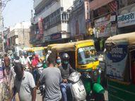 गुरुवार सुबह 6 बजे से 7 दिन के लिए कोरोना कर्फ्यू, उससे पहले बाजारों में उमड़ी भीड़, दाल बाजार में 10 दिन का ज्यादा बिका राशन|ग्वालियर,Gwalior - Dainik Bhaskar