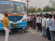 नेशनल हाईवे पर बस ने बाइक सवारों को मारी टक्कर; कुचलते हुए 200 मीटर तक घसीटते ले गई; हादसे के बाद भी ड्राइवर रुका नहीं|अलवर,Alwar - Dainik Bhaskar