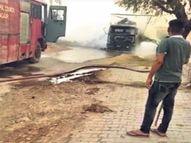 चारे से ओवरलोड ट्रेलर बिजली के तारों की जद में आया, आग से पांच घंटे जलता रहा|नागौर,Nagaur - Dainik Bhaskar