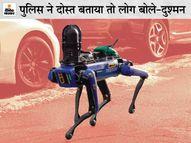 हथियारबंद पुलिस के साथ रोबोट डॉग देखकर सहमे अमेरिकी; बोले- आर्टिफिशियल इंटेलिजेंस से लैस रोबोट को हथियार बनाएगी पुलिस|विदेश,International - Dainik Bhaskar