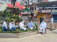 कांग्रेस के छह विधायक और पूर्व मंत्री गांधी प्रतिमा के पास अनिश्चितकालीन धरने पर बैठे; मनाने पहुंचे अफसरों से कहा-व्यवस्थाएं सुधरने तक जारी रहेगा प्रदर्शन|छिंदवाड़ा,Chhindwara - Dainik Bhaskar