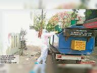 पीपीई किट पहनकर संक्रमितों के घरों तक कचरा लेने पहुंचा वाहन खंडवा,Khandwa - Dainik Bhaskar