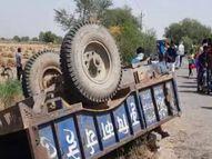 देवी मंदिर से लौट रहे श्रद्धालुओं से भरी ट्रैक्टर-ट्रॉली अनियंत्रित होकर पलटी; दो महिलाओं की मौत, 12 घायल|कानपुर,Kanpur - Dainik Bhaskar