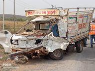 जिस स्पॉट पर हुई थी 3 मजदूरों मौत, 9 घंटे बाद उसी जगह फिर हुआ हादसा, ट्रक ने जीप में मारी टक्कर और पलट गया, एक की मौत, 2 घायल|ग्वालियर,Gwalior - Dainik Bhaskar