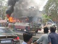 चलती रोडवेज बस में लगी भीषण आग, खिड़की-दरवाजे से कूदकर भागे यात्री, जलकर राख हुए सामान|कानपुर,Kanpur - Dainik Bhaskar