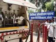 जोधपुर में अलवर से 16 टन लिक्विड ऑक्सीजन पहुंची, रास्ता साफ मिलने से 20 के बजाय 11 घंटे में आ गया टैंकर|जोधपुर,Jodhpur - Dainik Bhaskar