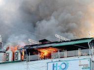 चौथी मंजिल पर रेस्तरां में आग, 3 घंटे में पाया काबू, शुक्र है सिलेंडरों तक नहीं पहुंचीं लपटें|भोपाल,Bhopal - Dainik Bhaskar