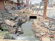 व्यापार विहार स्मार्ट रोड के नाले में बहाव नहीं; नोटिस पर सफाई शुरू|बिलासपुर,Bilaspur - Dainik Bhaskar