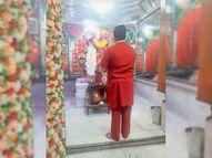 देवी भक्तों ने घरों में ही रहकर की मां महागाैरी की पूजा, हवन में आहुतियां देकर काेराेना महामारी के खात्मे की मन्नत मांगी|श्रीगंंगानगर,Sriganganagar - Dainik Bhaskar