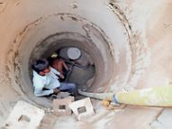 डमी पर लेप लगाकर पानी की रिसाव किया बंद, प्लस्तर शुरू किया जाएगा|श्रीगंंगानगर,Sriganganagar - Dainik Bhaskar