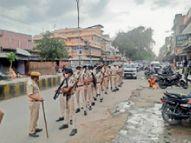 पुलिस का फ्लैग मार्च, लोगों को घरों में रहने की दी नसीहत|श्रीगंंगानगर,Sriganganagar - Dainik Bhaskar