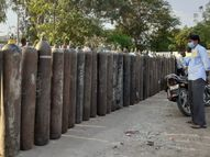 ऑक्सीजन सिलेंडर के जुगाड़ में बीत रहा दिन, परिजन घण्टों लाइन में खड़े रहने को मजबूर|कोटा,Kota - Dainik Bhaskar