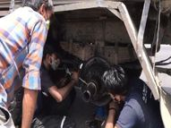ऑक्सीजन से भरे टैंकर का बीच राह फटा टायर|पाली,Pali - Dainik Bhaskar
