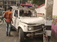 MLA अरुण सिन्हा के आवास के पास पोल से टकराई आरोपी को लेकर जा रही जीप; आरोपी, महिला पुलिसकर्मी समेत 3 घायल पटना,Patna - Dainik Bhaskar