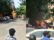 अचानक सड़क से निकलने लगी लपटें, लोग जब तक समझ पाते 4 गाड़ियां जलकर हुई खाक|महाराष्ट्र,Maharashtra - Money Bhaskar