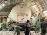 प्लेन में लोड़िंग के समय अड़ा ऑक्सीजन टैंकर के ऊपर लगा बोर्ड, एयरपोर्ट पर कटर से काट किया गया अलग, 3 टैंकर में 76 टन ऑक्सीजन इंदौर आएगी|इंदौर,Indore - Money Bhaskar