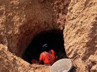 बर्तन बनाने के लिए 10 फीट गहरी सुरंग खोद निकालते हैं मिट्टी, सुरंग धसने का बना रहता है खतरा घाटशिला,Ghatsila - Dainik Bhaskar