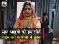 15 दिन वेंटिलेटर पर रहने के बाद जिंदगी की जंग हार गईं आयुष डॉक्टर; दो भाई और ननद तीमारदारी में संक्रमित हुए पर बचा नहीं सके|राजस्थान,Rajasthan - Dainik Bhaskar