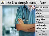 स्टेट हेल्थ सोसाइटी बिहार ने मेडिकल ऑफिसर के 1000 पदों पर भर्ती के लिए मांगे आवेदन, बिना परीक्षा इंटरव्यू के आधार पर होगा सिलेक्शन|करिअर,Career - Dainik Bhaskar