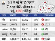 42 दिन बाद पॉजिटिविटी रेट घट कर 10% हुआ; भोपाल में 33 दिन बाद 1 हजार से कम संक्रमित आए|भोपाल,Bhopal - Dainik Bhaskar