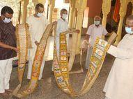 200 साल पुरानी 55 फीट लंबी कुंडली, इसे खोलने के लिए पड़ती है 6 लोगों की जरूरत|ग्वालियर,Gwalior - Dainik Bhaskar