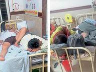 गंभीर मरीज घबराहट में ऑक्सीजन मास्क निकाल रहे, जान बचाने बेड से हाथ-पैर बांधने की नौबत शिवपुरी,Shivpuri - Dainik Bhaskar